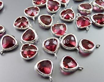 2 triangle glass crystal charms with rhodium over brass frame and pretty ruby glass gemstone 5118R-RU-8