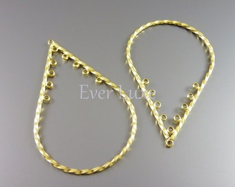 2 Long textured teardrop pendants with multiple loops, matte gold teardrop pendants, findings / supplies 1929-MG (matte gold, 2 pieces)