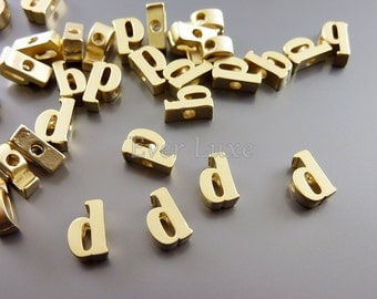 2 Lowercase letter d, matte gold initial beads, initial charms, alphabet beads, personalized jewelry crafts 1947-MG-D (matte gold, d, 2 pc)