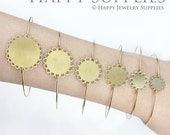 10pcs High Quality Raw Brass Lace Pendant Base Bangle Bracelet With 10mm /12mm / 15mm / 18mm / 20 mm/ 25mm Pad  (PBC-G)