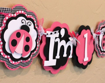 LadyBug Black White Pink Polka Dot I'm 1 High Chair Age Lady Bug Banner Highchair Girl Baby Shower Birthday Party Decorations Room Decor