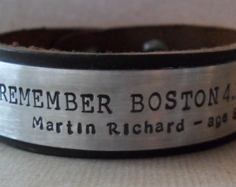 Memorial Bracelet In Memory Personalized Tribute Leather Bracelet Custom Remembrance Boston Tribute Gift