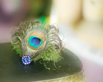 Peacock Royal Blue Beads Hair Clip / Comb. Elegant Big Day, Holidays Feather Accessory, Feminine Girly Teen Birthday Party, Bridesmaid Gift