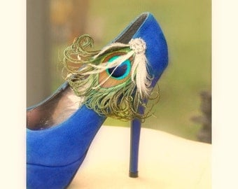 Shoe Clips / Hair Clips Peacock Feathers. Bride Bridal Bridesmaid Party Gift, Couture Spring, Turquoise Bleu Blu Green Ivory White Pearl Gem