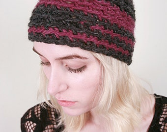 LuLu & Loie's Sriped Winter Hat in Charcoal Grey and Fig Purple (Choose your colors!)