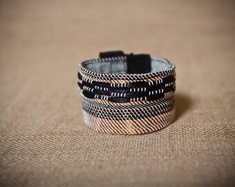 Liana - Handwoven cuff bracelet with copper
