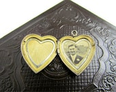 1920s heart locket in sterling silver and 14 karat gold original photo of lost sweetheart