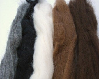 Top Roving Alpaca fiber for spinning, doll hair and filz 5 natural colors 30 gr/ 50 gr