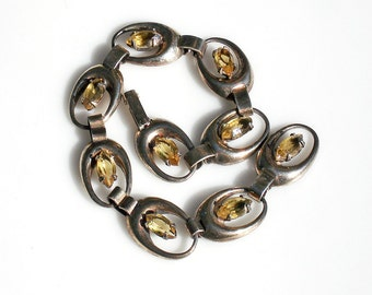 Vintage Modern Sterling Bracelet with Yellow Stones- Atomic Age