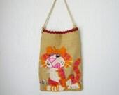 Vintage Crewel Tiger Burlap Bag