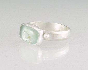 aquamarine ring - sterling silver - matte satin finish ring - march birthstone jewelry - cocktail ring - handmade art jewelry