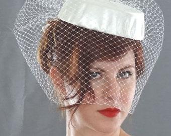 Birdcage Veil Hat, Wedding Veil Short, Blusher Veil, Ivory Veil