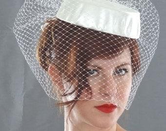Birdcage Veil with Bowed Satin Pillbox Hat, Bridal Birdcage Veil Hat, Wedding Veil
