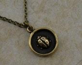lady bug necklace, silver white bronze and bronze charm necklace tiny cute small lady bug necklace, ladybug necklace