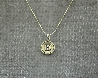 Letter Initial E  Typewriter Key Pendant Necklace Charm - Silver Rim  - Other Letters Available