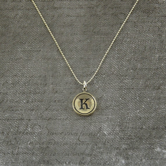 Letter K Necklace - Sterling Silver Initial Typewriter Key Charm Necklace - Gwen Delicious Jewelry Design