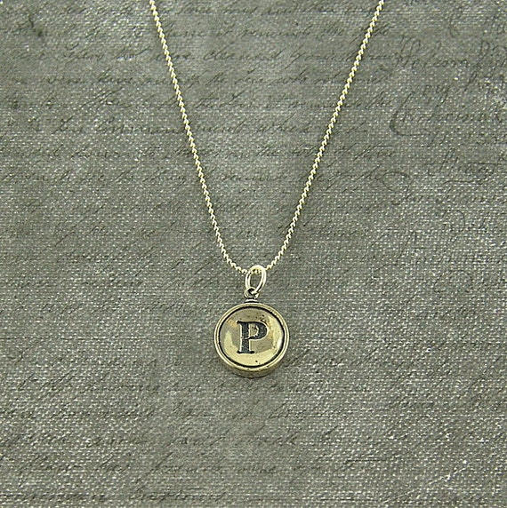Letter P Necklace - Silver Initial Typewriter Key Charm Necklace - Gwen Delicious Jewelry Design GDJ