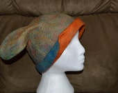Handmade wet felted merino wool bunny ear hat fits 23 1/4 inches blue, green, orange