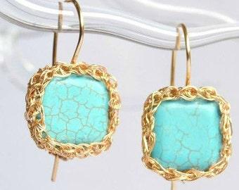Turquoise crochet earrings, blue and gold earrings