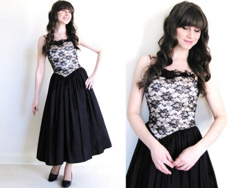 Vintage Black Party Dress / Black Cocktail Dress