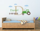 Tractor Wall Decal Set - Boys Name and Initial Decal - Personalized Boy Decal - Large