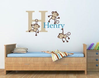 Custom Boys Name Wall Decal with Monkey Set and Initial - Personalized Boy Decal - Large
