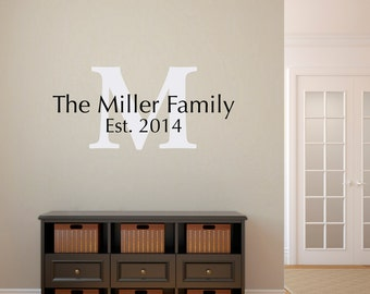Initial & Last Name Decal - Personalized Wall Decal with Established Date - Medium Wall Decal 2
