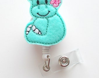 Baby Hippo Aqua - Retractable ID Badge Reel - Name Badge Holder - Pediatric Badge Reel - Nurse Badge Holder - Nursing Badge - Felt Badge