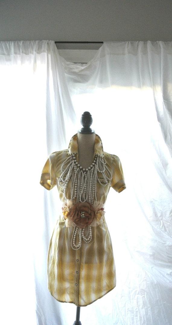 Plaid Dress Western Cross Shirt Dress Shabby Bohemian