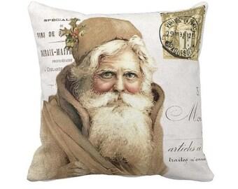 Christmas Pillow Cover Holiday Christmas Santa Gold Pillow Cotton and Burlap Pillow