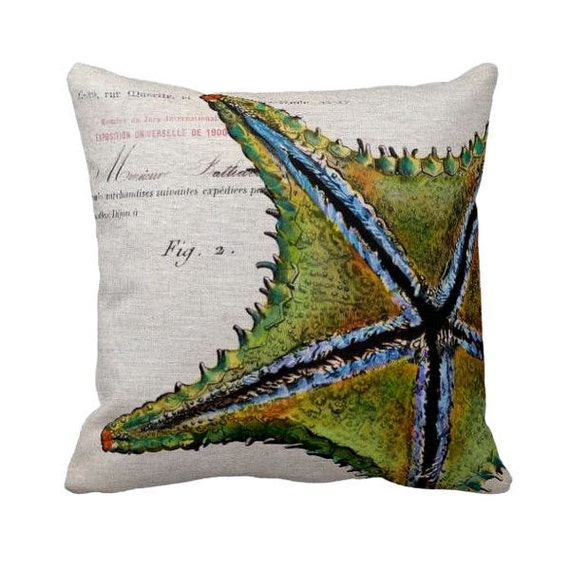 Pillow Cover Green Beach Decor Starfish