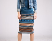 Ethnic Patterned Pencil Skirt - Blue