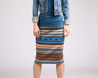 Ethnic Striped Pencil Skirt, Blue Skirt, Jersey Skirt, Pull On Skirt, Straight Skirt, Knee Length Skirt / Handmade Skirt - Blue