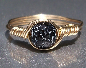 Black & White Effloresce Web Agate14k Yellow Gold Filled Wire Wrapped Ring Custom Sized