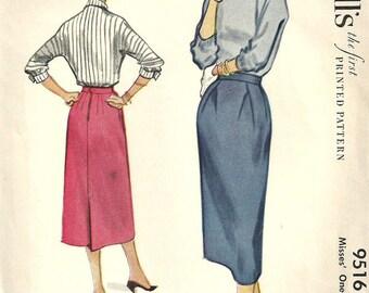 McCalls 9516 / Vintage 50s Sewing Pattern / Skirt / Waist 26