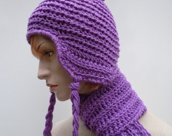 Ear Flap Hat and Scarf Set - Lavender Hat Scarf - Purple Hat and Scarf - SHOW