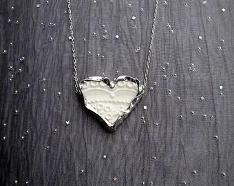 Necklace Broken China Heart Lace Pattern