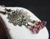Purple Flower-Shaped Czech Glass Bead Earrings - A.159