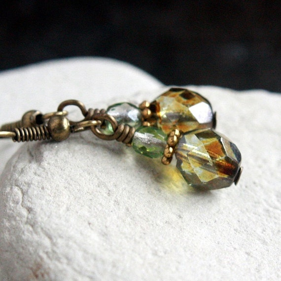 Green Fire Polished Czech Glass Bead Earrings - CLEARANCE SALE - A.1724