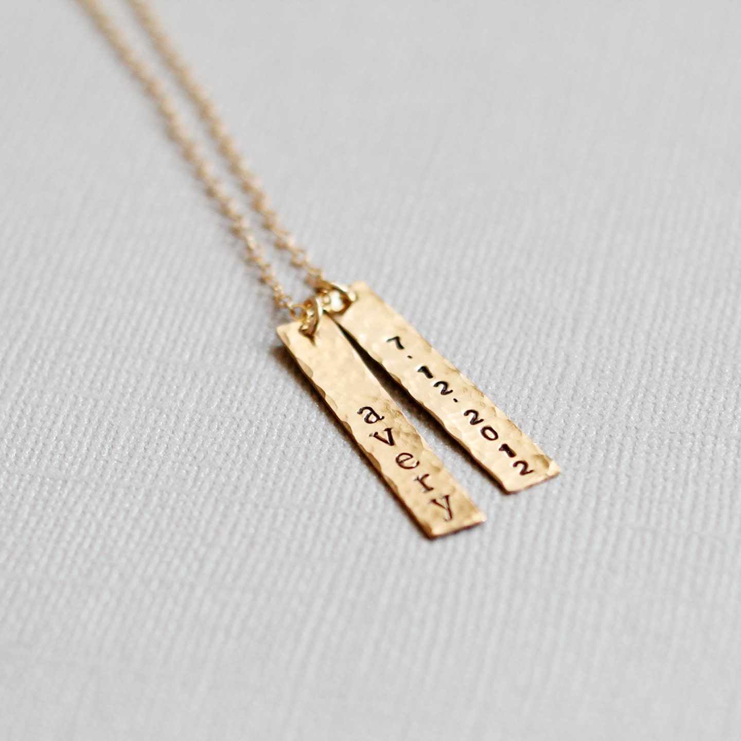 gold nameplate necklace with birthdate by vivarevival on etsy