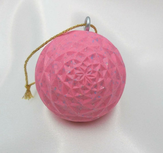 Carved Golf Ball, Lady Golfer Gift, Pink Christmas Ornament
