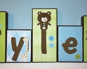 Personalized Wood Blocks - M2M Carter's Toyland bedding Baby Room Decor Custom Name Letters - Baby Letter Blocks