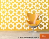 Flower Wall Decal,  Daisy Wall Decal, Floral Pattern Wall Decor, Retro Wall Decal, Modern Wall Decor, Modern Nursery Decor, Mid Century Mod