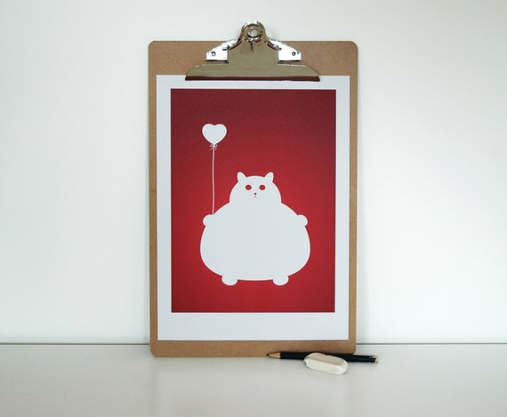 Home Decor, Mother's Day Day Gift, Bedroom Decor, Cat Lover Gift, I Love Cats, Fat White Cat