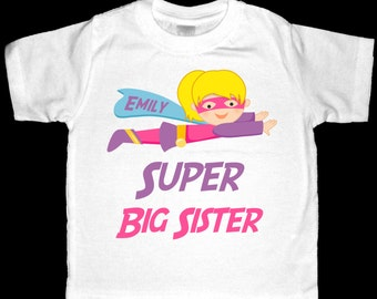Personalized Super Big Sister Superhero Shirt or Bodysuit - Customized to look like your child
