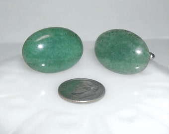 Vintage Natural Green Stone Cuff Links