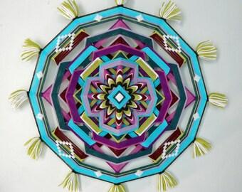 Ojo de Dios, yarn mandala Summertime, 18 inch, by custom order