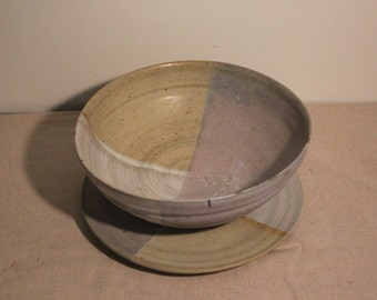 Set of Signed Studio Pottery Large Bowl and Platter Stoneware - Beautiful and Unique Pastel Lavendar Wheat Colors