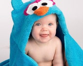 PERSONALIZED Girl Blue Owl Hooded Towel