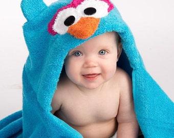 Girl Blue Owl Hooded Towel